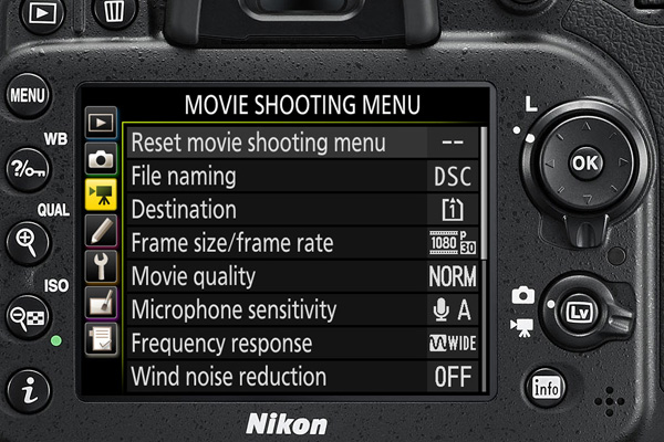 The dedicated menu for movie settings should make setup faster.