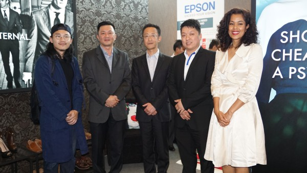 From L-R: Vincent Paul Yong; Danny Lee, General Manager of Sales and Marketing, Epson Malaysia; Shimizu Tomoya, Country Manager of Epson Malaysia; Dickson Lee, Senior Manager, Commercial and Industrial Department, Sales Division, Epson Malaysia; and Nina Marini.