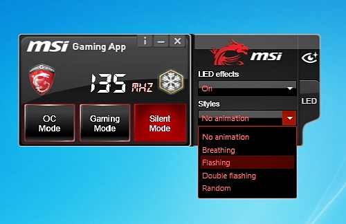 The MSI Gaming App has been updated with the new LED feature that is accessed via the LED tab. The Eye Rest tab is just above the new LED tab.