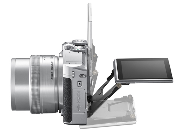 The J5 is the first Nikon 1 series camera with a tilting LCD screen.