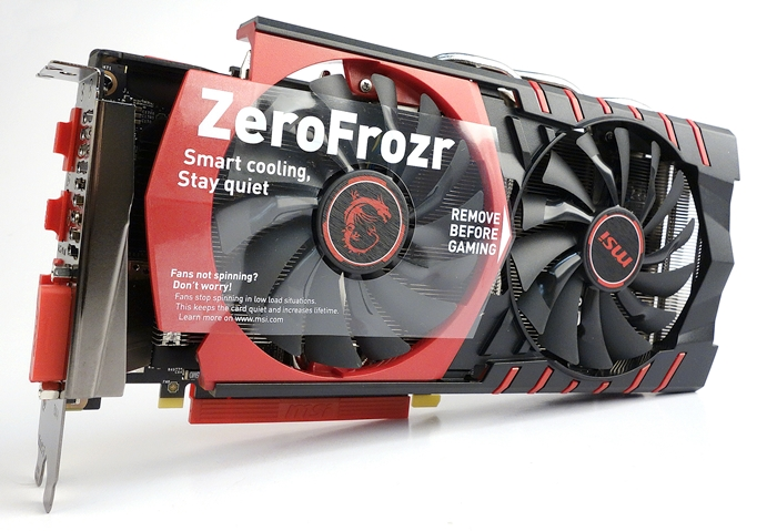 The MSI GeForce GTX 960 Gaming 2G is one of the most meticulously packaged card we have come across so far. Look at the decal that describes Zero Frozr feature, and the dust covers for its video ports!