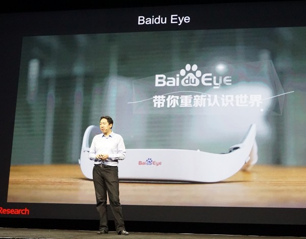 Andrew announced the Baidu Eye, a wearable headset that is built around the concept of Deep Learning.