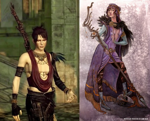 Sure, this redesign is more practical, but it doesn't fit Morrigan's character. Muddy Colors.