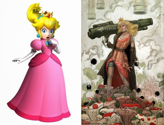 Because the Mushroom Kingdom really needed a bazooka-blasting princess. <br> Image source: Muddy Colors.