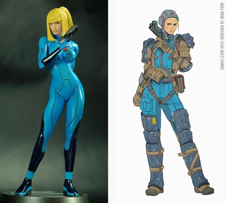 The redesign would make for a great alternate costume, but not as a Zero Suit. Not that the Zero Suit made much sense in the first place. <br> Image source: Muddy Colors.