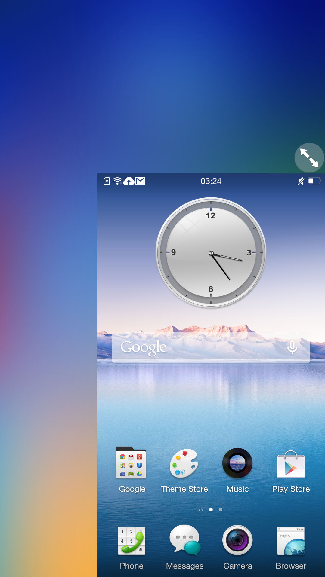 One-handed mode shrinks the UI to a more manageable size.