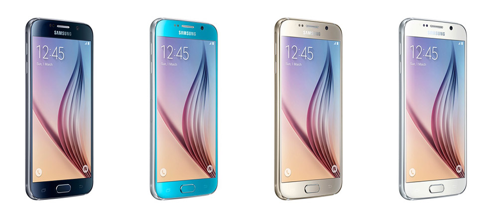 Galaxy S6 colors from left to right: Black Sapphire, Blue Topaz (available at a later date), Gold Platinum, White Pearl.