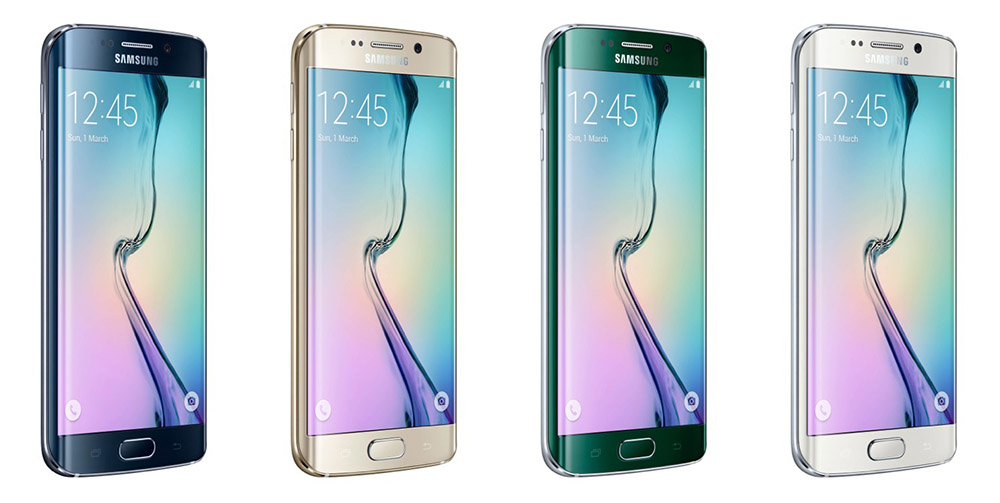 Galaxy S6 Edge colors from left to right: Black Sapphire, Gold Platinum, Green Emerald, White Pearl.