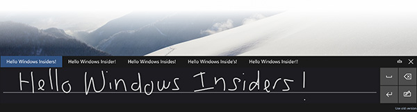 The new handwriting input panel in Windows 10. (Image source: Microsoft.)