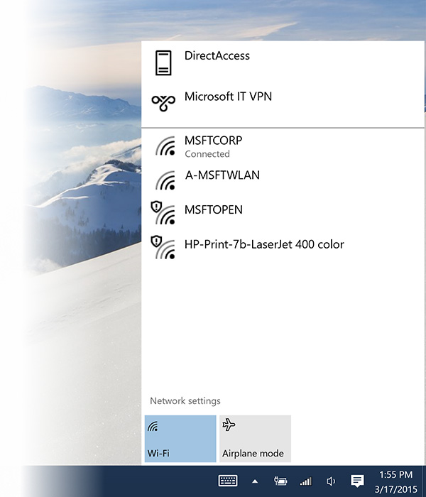 You can easily connect to wireless networks from this network fly-out. (Image source: Microsoft.)