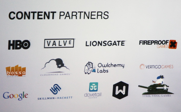 Content partners currently enrolled for the upcoming SteamVR headset.