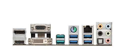The board has replaced the USB 2.0 ports on the original ASUS Z97-A/USB 3.1 board with two teal-colored USB 3.1 ports. (Image Source: ASUS)