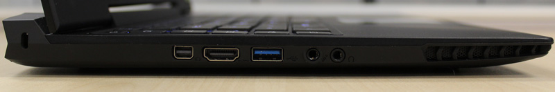 The mini-DisplayPort and the HDMI output port are both on the left side. There's also a USB 3.0 port, headphones and microphone jack on the same side.