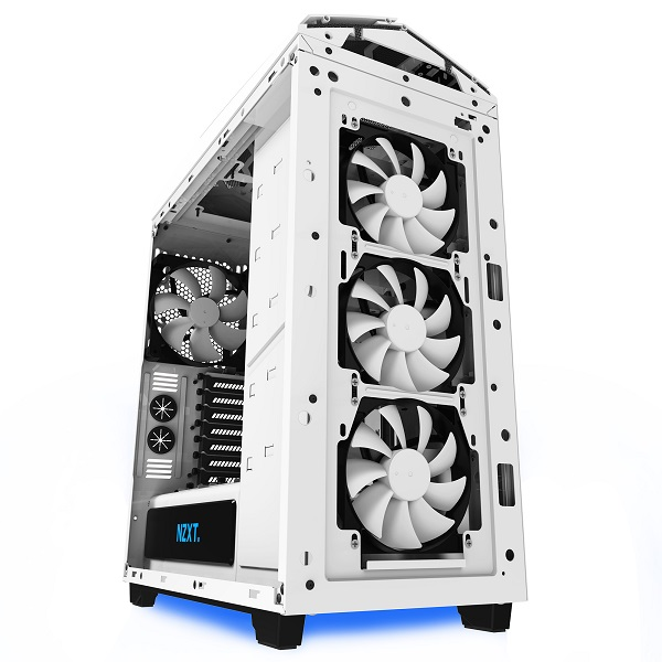 The case ships with four fans and comes with small aesthetic touches like a power supply shroud and LED lights on its underside. (Image Source: NZXT)
