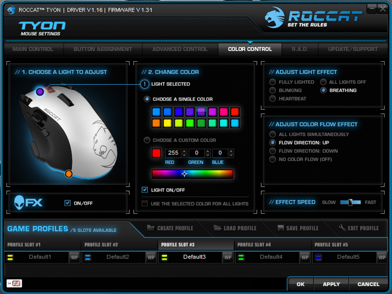 This is our favorite section in the Roccat Driver. We never get tired of mixing and matching colors.