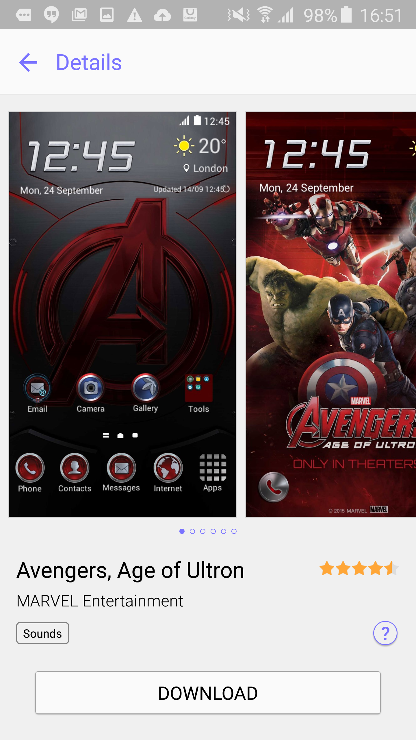 It's kind of tacky, but if you're into the Avengers you might like this Age of Ultron theme.