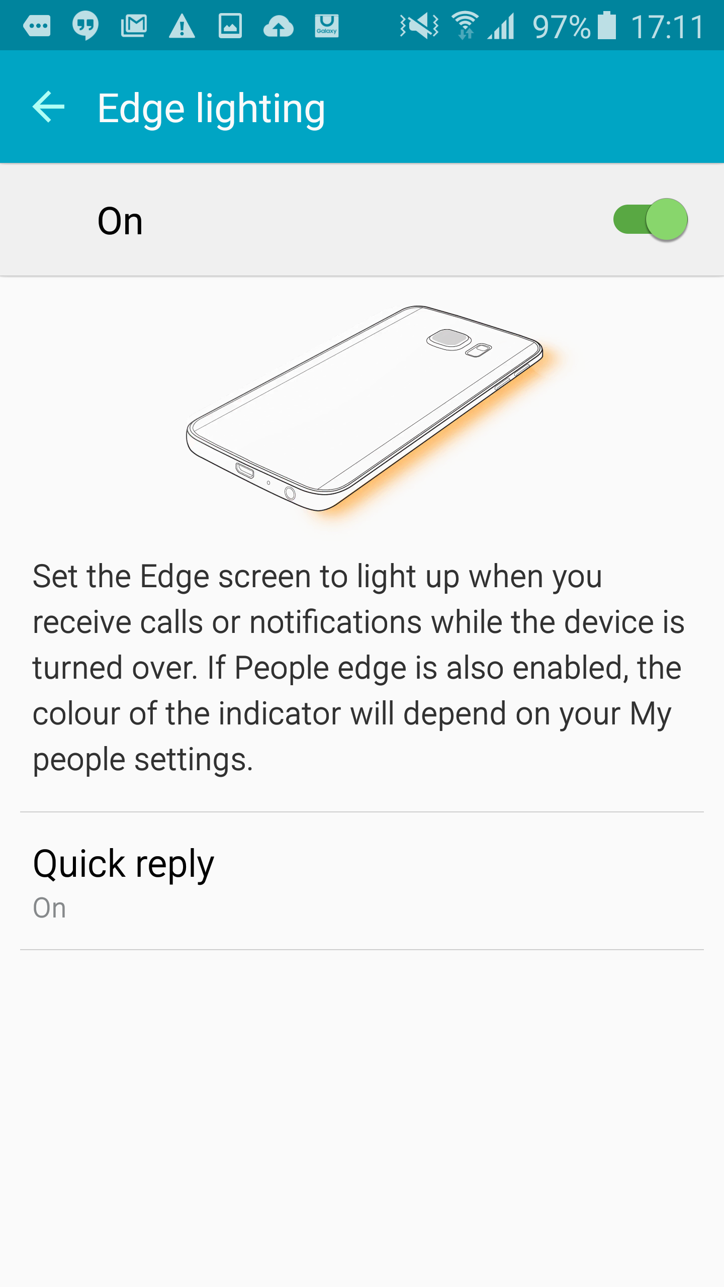 Edge lighting only works with the phone placed face down.