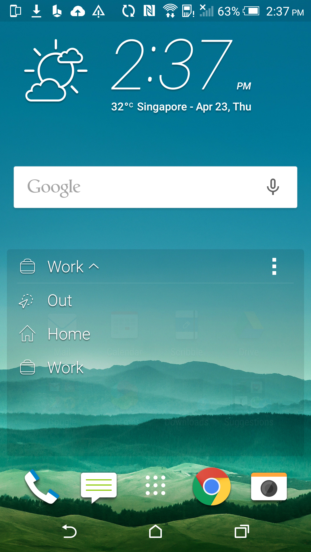 The Sense Home panel will switch between Home, Work and Out based on your GPS location. Alternatively, you can manually toggle between settings.