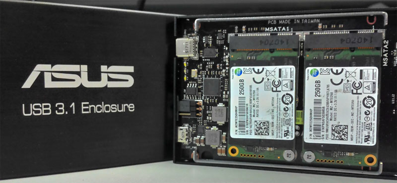 The Raid 0 configuration allows the mSATA drives to saturate its SATA 6Gbps interface and hopefully help demonstrate the capabilities of the 10Gbps data rate of USB 3.1. (Image Source: ASUS)