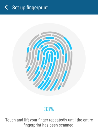 Registering your print is as easy as touching and lifting your finger from the sensor. It took about 4-5 times to complete the process.
