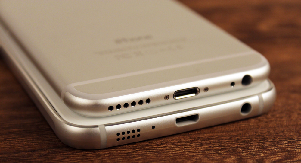 The bottom of the S6 does look an awful lot like the bottom of the iPhone 6, but the rest of the phone is different enough.