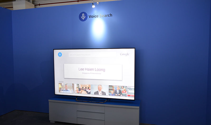 Sony helpfully set up a dedicated area to demonstrate the voice search capabilities of Android TV.