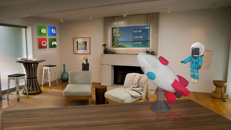 In Microsoft's demos, we often see many holograms in a room. To be clear, you can really place that many holograms; but because of the HoloLens' limited field of view, you might not see everything, especially those not directly in front of you. (Screengrab from Microsoft HoloLens homepage.)