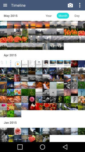 The Gallery app now organizes the photos according to time (year,month and day) and location. There is also an option to view significant moments in life via Memories album.
