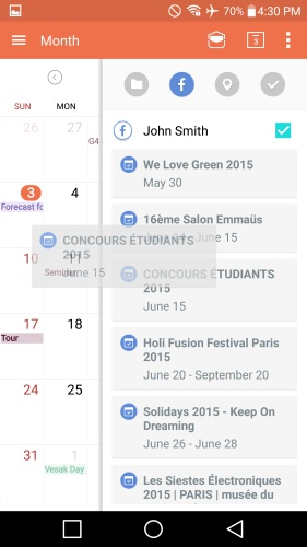 Event Pocket allows you to drag events from social media accounts to the default Calendar. For now, it seems that only Facebook is integrated with this feature.