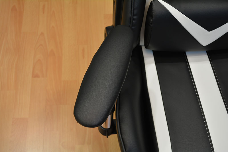 The armrests can be rotated by about 30° to either side.