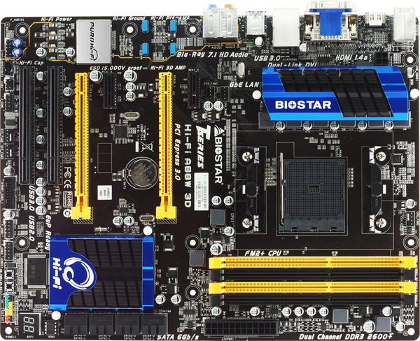 The Biostar Hi-Fi A88W 3D will support AMD's new Godavari APUs and AMD Crossfire. (Image Source: Biostar)