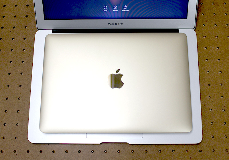 The new MacBook can comfortably fit into the same area as the MacBook Air's keyboard.