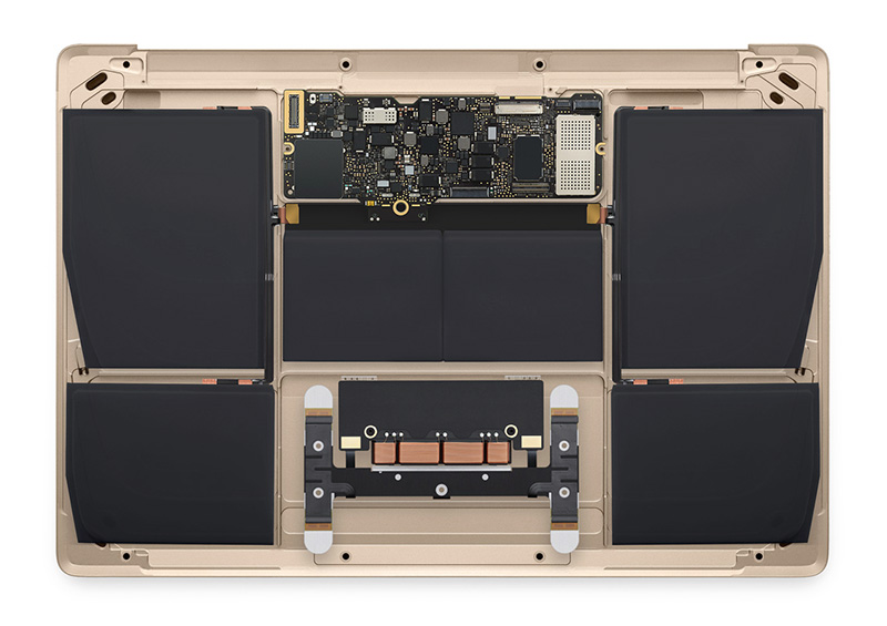 A peek inside the MacBook. Note how small the logic board is and also the lack of fans. Finally, look at how much space is set aside for the batteries. (Image source: Apple)