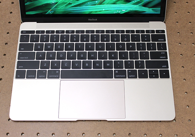 Despite the MacBook's smaller dimensions, the keys are actually larger and the Force Touch trackpad is still just as large. Eagle-eyed readers might also have noticed that the typeface is different.