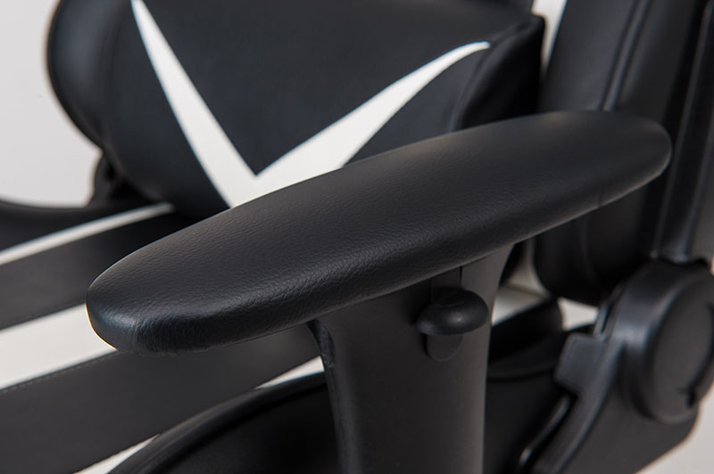 Luxury The armrests feature generous leather padding and can be adjusted by pushing the button on the