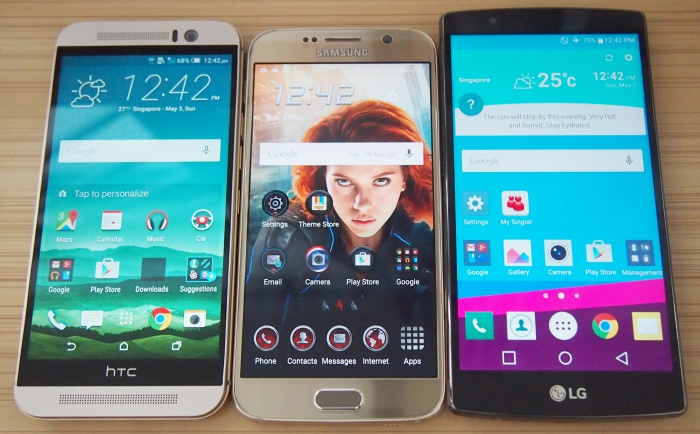 From left to right: HTC One M9, Samsung Galaxy S6, LG G4.