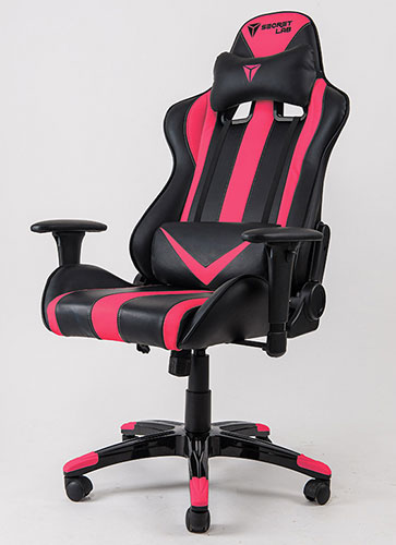 The Secretlab Throne features aggressive racing stripes that echo the designs of racing car seats. Shown here is the hot pink color option. (Image Source: Secretlab)