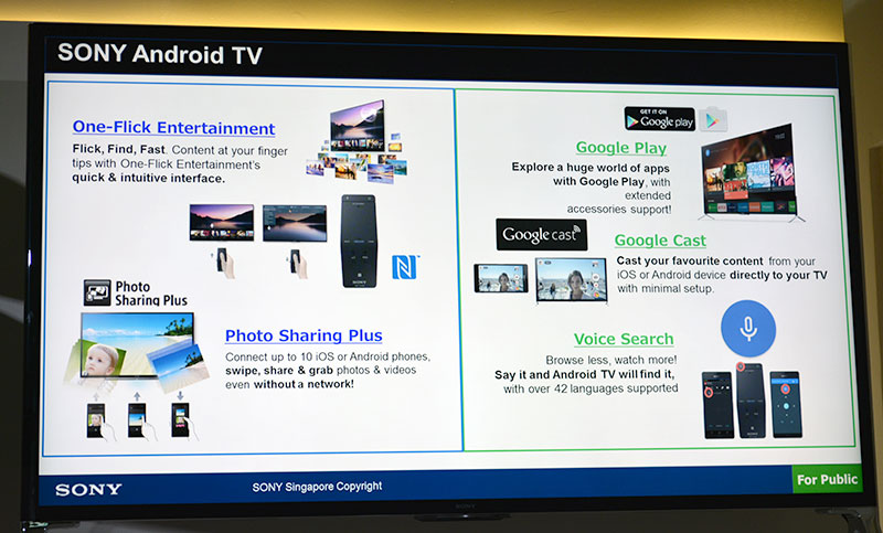 The new entertainment capabilities of the new TVs featured prominently in Sony's presentation. Viewers can now enjoy access to Google Play, Google Cast and Voice Search thanks to Android TV.