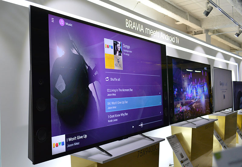 The flagship Sony Bravia X9400C was used to demonstrate Sony's High Res Audio technology.