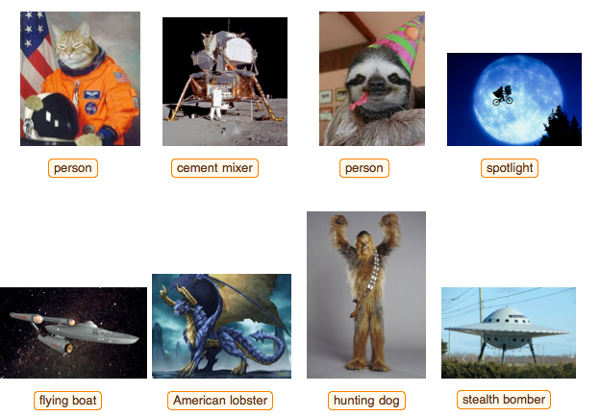 Here's what goes on in an artifical intelligence's mind as it makes sense of pop culture images. (Source: Stephen Wolfram blog)