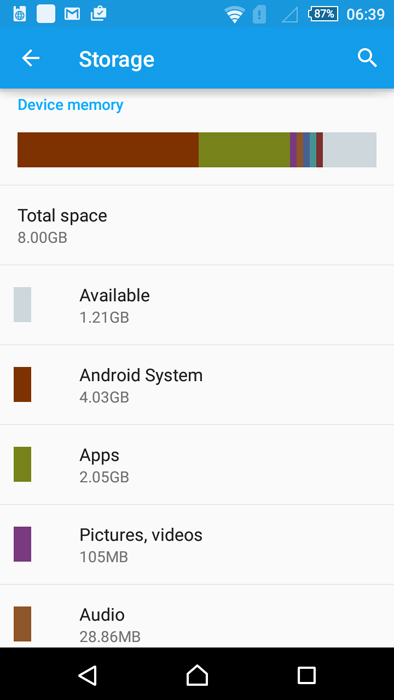 It's a good thing the Xperia M4 Aqua has a microSD slot as the phone comes with a lot of bloatware, which leaves little internal storage memory free.