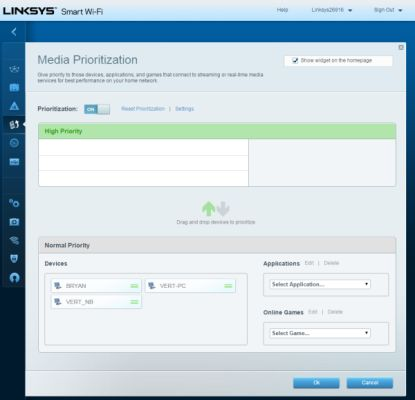 The interface makes it easy to prioritize bandwidth for devices and apps.