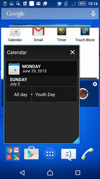 We've opened the Calendar Small app here. Small apps allow for you to resize them too on the homescreen.