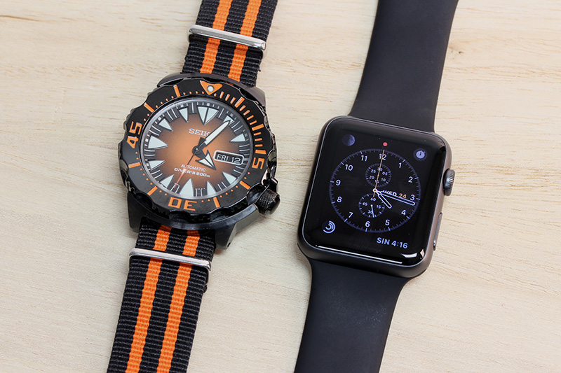 "A smartwatch is always a want, never a need. Here's a quick size comparison between a 43mm (case diameter) Seiko SRP311K ""Monster"" and a 42mm (case height) Apple Watch Sport."