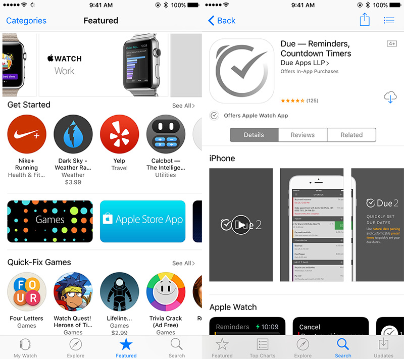 Left: The iPhone's Apple Watch app's Featured section is the best place to discover Watch apps. Right: iPhone apps that offer a Watch app will have a round app icon with the words 'Offers Apple Watch App' below the main app icon.