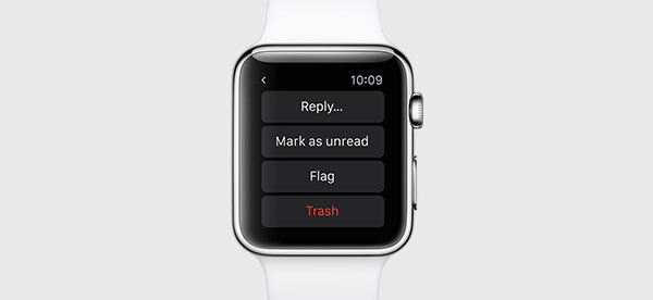 The watch now lets you reply emails directly. <br>Image source: Apple.