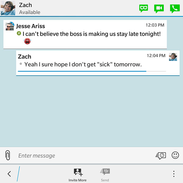 Before the implementation of Private Chat, even if messages were set to self-destruct, it was still possible to capture screenshots and potentially misuse them. (Image Source: BlackBerry Blogs)