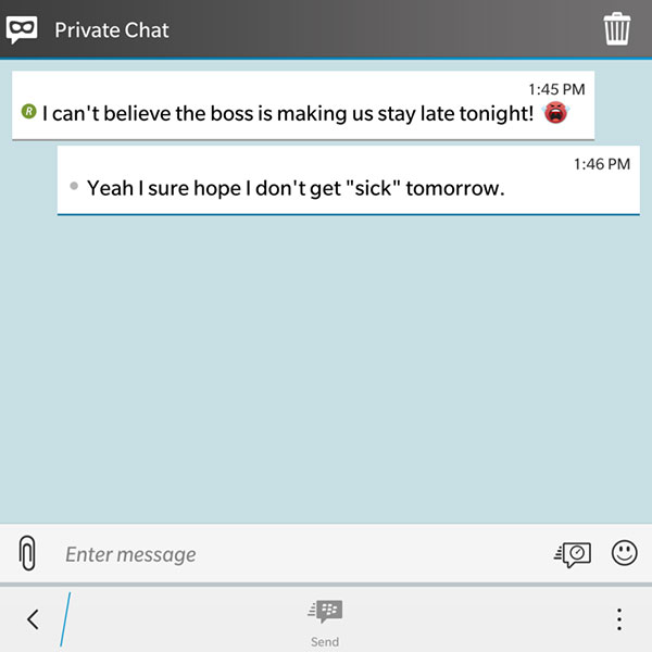 Private Chat makes conversations completely anonymous, thus guarding against unwanted screenshots. (Image Source: BlackBerry Blogs)