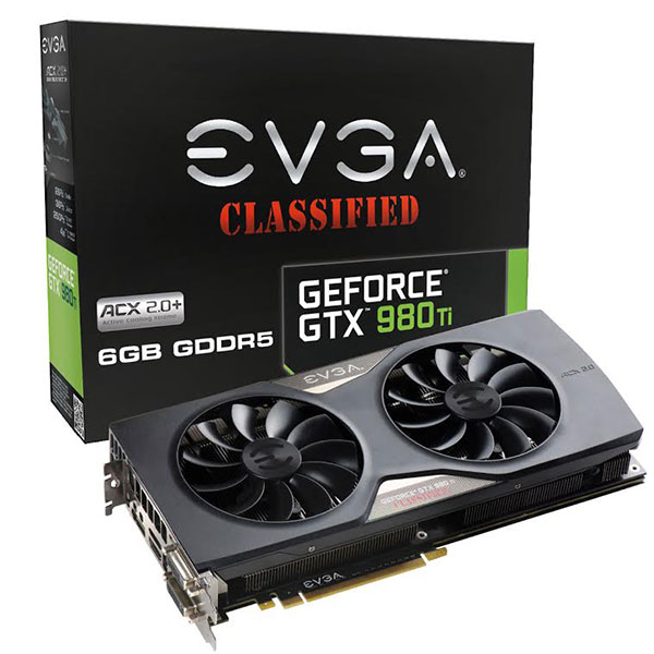 The EVGA GeForce GTX 980 Ti features a custom cooler and factory overclocks over the reference design. (Image Source: EVGA)