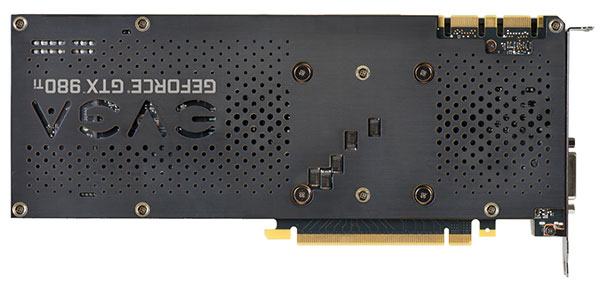 The EVGA GeForce GTX 980 Ti Superclocked+ ACX 2.0+ ships with a solid metal backplate. (Image Source: EVGA)